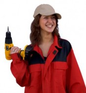 girl with power drill